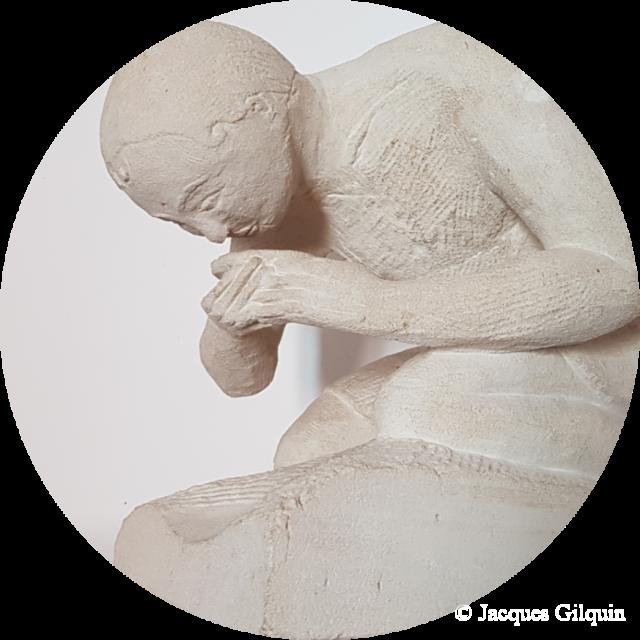 Sculpture de Jacques Gilquin intitulé Homme agenouillé